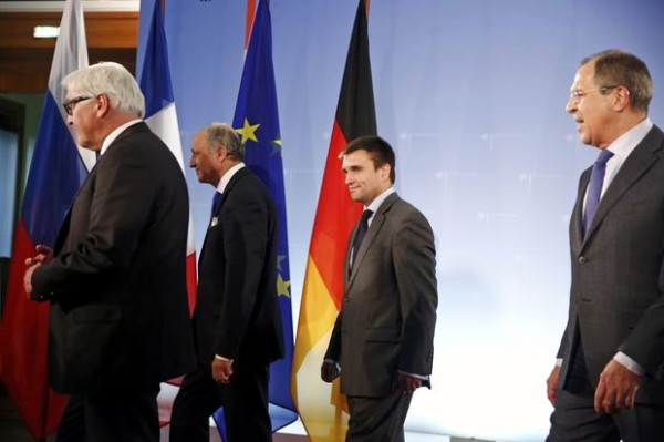 rance's FM Fabius, Ukraine's FM Klimkin, Germany's FM Steinmeier and Russia's FM Lavrov leave after they posed together as they meet to discuss Ukrainian crisis, in Berlin