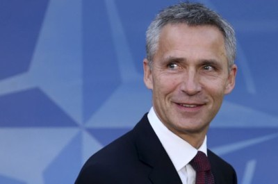 New NATO Secretary General Stoltenberg arrives at the Alliance headquarters in Brussels